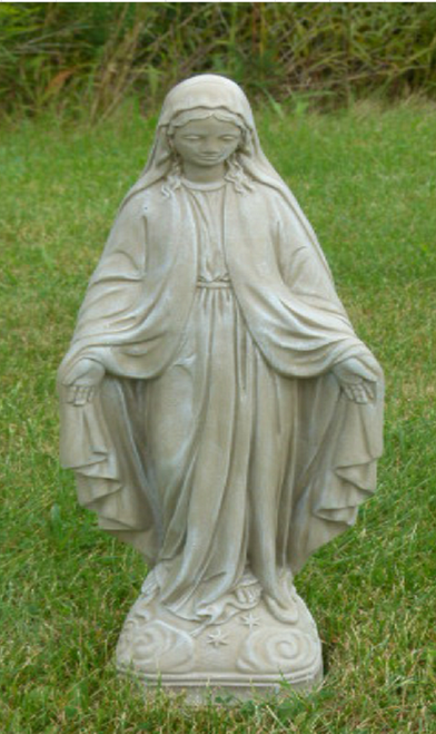 "25"" Chestnut Finish Virgin Mary Outdoor Patio Statue - IMAGE 1"