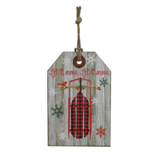 """11.75"""" Hanging """"Let it Snow"""" Christmas Tag Style Wall Decoration - IMAGE 1"""