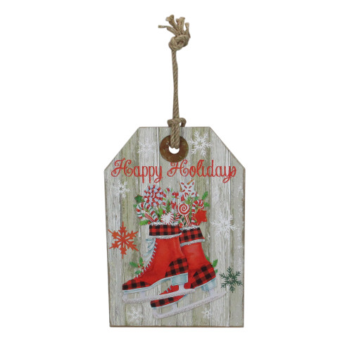 """11.75"""" Hanging """"Happy Holidays"""" Christmas Tag Style Wall Decoration - IMAGE 1"""