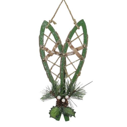 "12"" Green Hanging Snowshoe Christmas Wall Decoration - IMAGE 1"