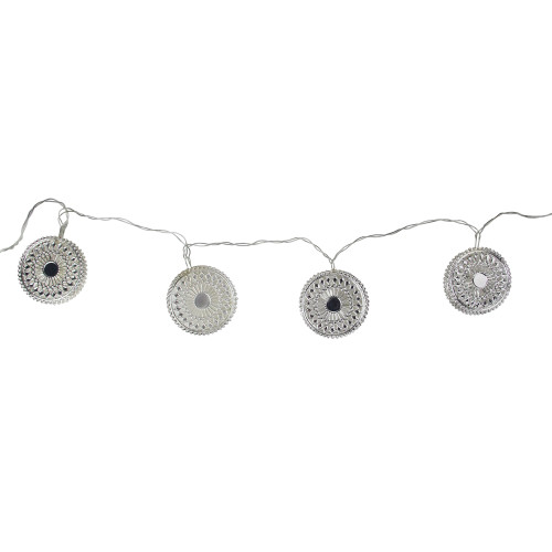10 Battery Operated Silver Dream Catcher Disk Christmas Lights -  68ft, Clear Wire - IMAGE 1