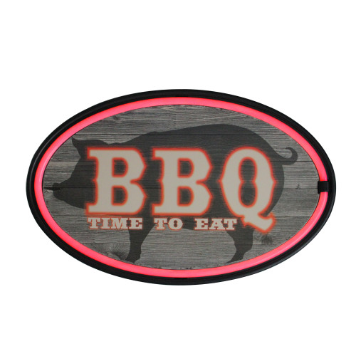 """16.25"""" Black and Red Battery Operated LED Lighted BBQ Neon Wall Sign - IMAGE 1"""
