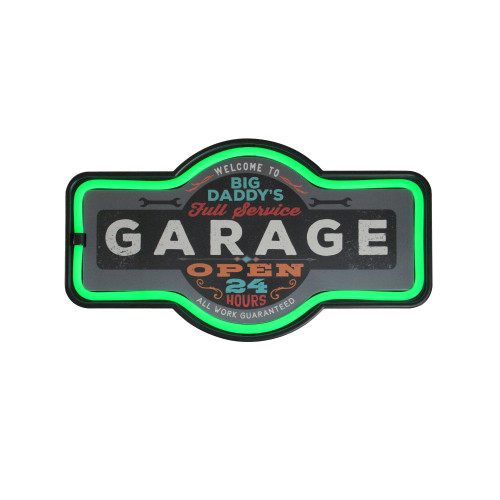 """17.25"""" Daddy's Garage Green LED Neon Style Wall Sign - IMAGE 1"""