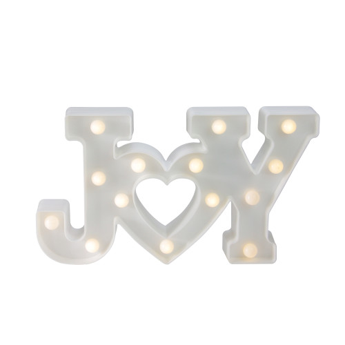 """12.75"""" White """"JOY"""" LED Christmas Marquee Wall Sign - IMAGE 1"""