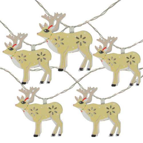 10 Battery Operated Warm White LED Reindeer Christmas Lights - 4.5 ft Clear Wire - IMAGE 1