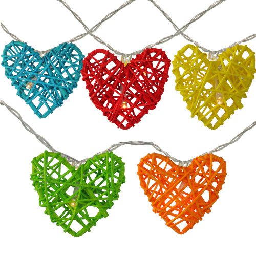 10-Count Colorful Hearts Valentines Day String Lights - IMAGE 1