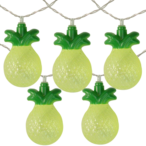 10 Count Green Pineapple LED Summer Lights - 4.5 ft Clear Wire - IMAGE 1