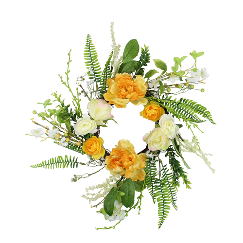 Hydrangea and Rose Twig Artificial Floral Wreath, Orange 16-Inch - IMAGE 1