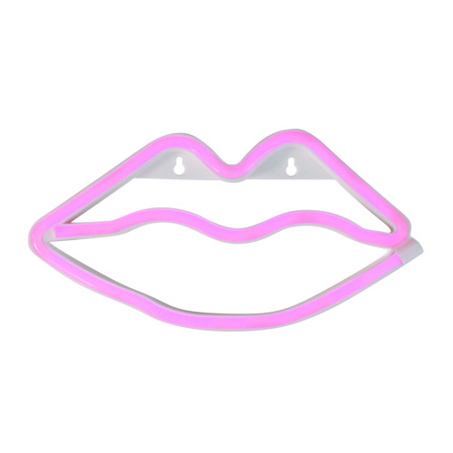 """10.5"""" Pink Lips LED Neon Style Valentine's Day Wall Sign - IMAGE 1"""