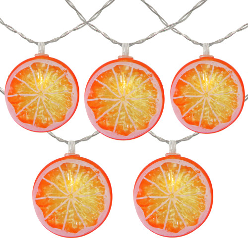 10 Battery Operated Orange Slice Summer LED String Lights - 4.5 ft Clear Wire - IMAGE 1