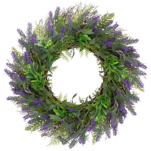 Lavender and Spring Foliage Artificial Floral Wreath, Purple - 24-Inch - IMAGE 1