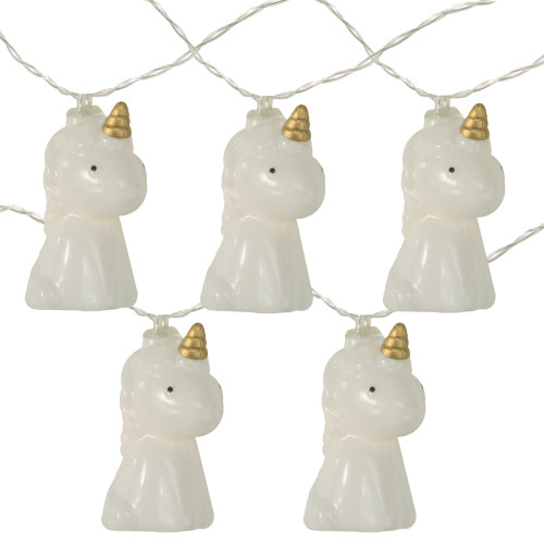 10-Count White Unicorn LED String Lights - 4.5 ft Clear Wire - IMAGE 1