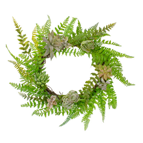 Succulents and Foliage Artificial Spring Twig Wreath, Green - 22-Inch - IMAGE 1