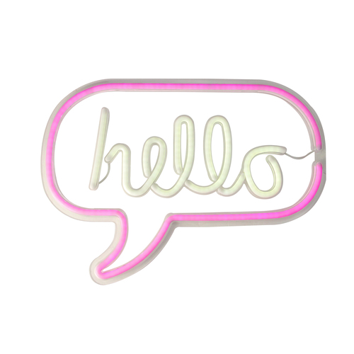 """17"""" Pink and White 'Hello' Word Bubble LED Neon Style Wall Sign - IMAGE 1"""