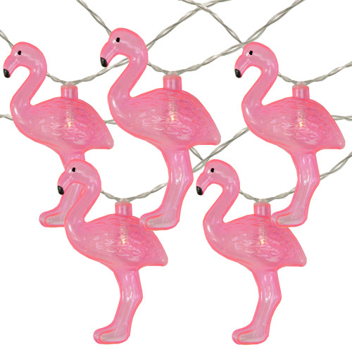 10-Count Pink Flamingo String Lights - Warm White - IMAGE 1