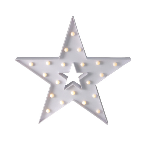 "15"" White Battery Operated LED Lighted Star Christmas Marquee Sign - IMAGE 1"