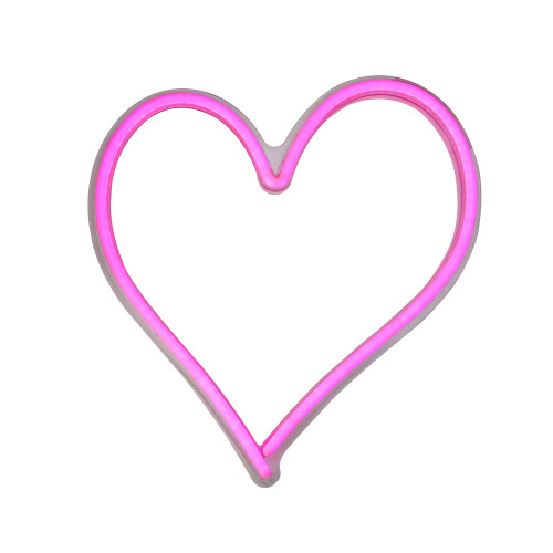 "13.5"" Pink LED Lighted Neon Style Valentines Day Heart Window Silhouette Sign - IMAGE 1"