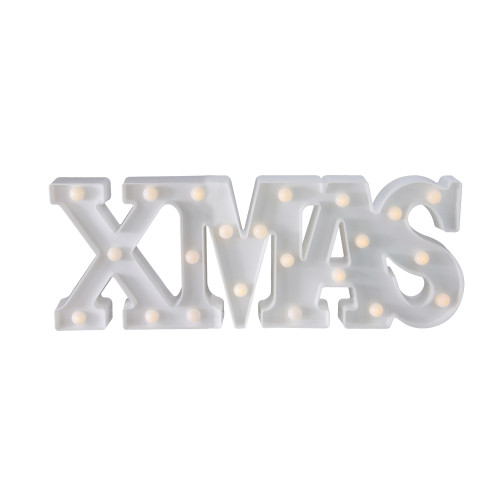 """18.5"""" White Battery Operated LED Lighted XMAS Christmas Marquee Sign - IMAGE 1"""
