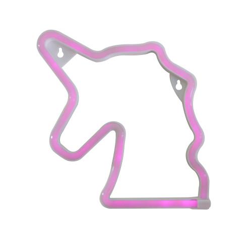 "11.75"" Pink Unicorn LED Neon Style Wall Sign - IMAGE 1"