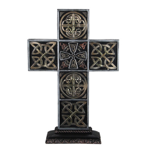 """13"""" Black and Brown Celtic Knot Cross Tabletop - IMAGE 1"""