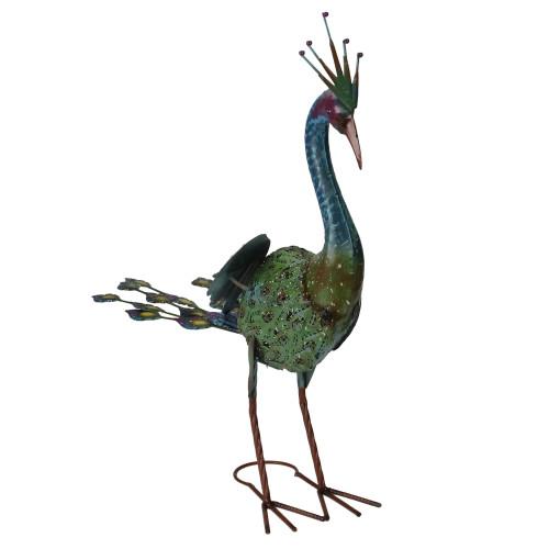 "24"" Green and Blue Metal Peacock Outdoor Garden Statue - IMAGE 1"