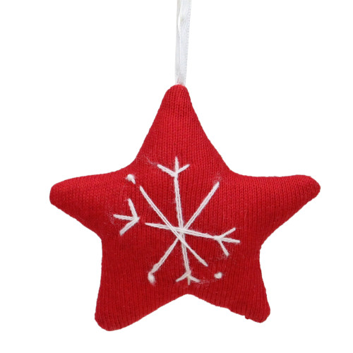 "4"" Red And White Star With Snowflake Cotton Christmas Ornament - IMAGE 1"