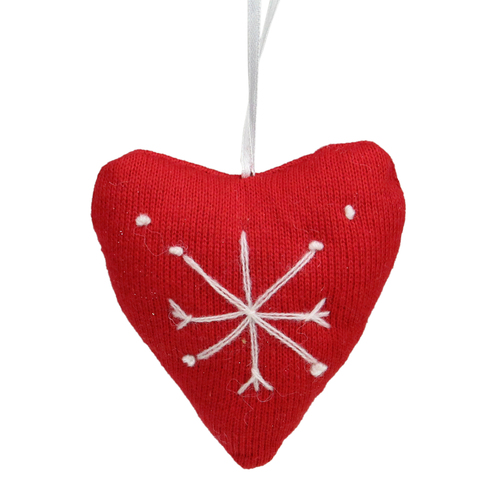 """4"""" Red And White Heart With Snowflake Cotton Christmas Ornament - IMAGE 1"""