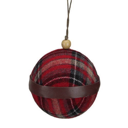 "4"" Red And Black Plaid Fabric With A Brown Strip Christmas Ball Ornament - IMAGE 1"