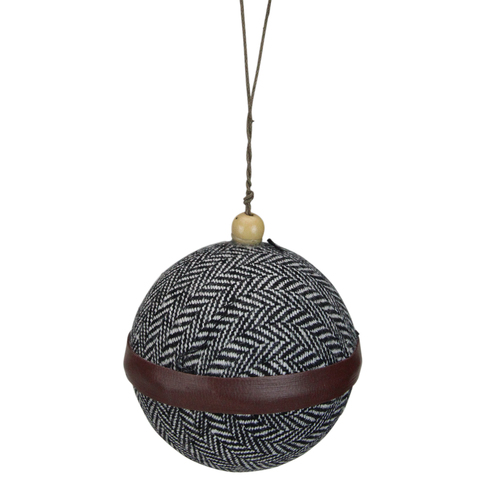 "4"" Black and White Houndstooth With Brown Strip Fabric Christmas Ball Ornament - IMAGE 1"