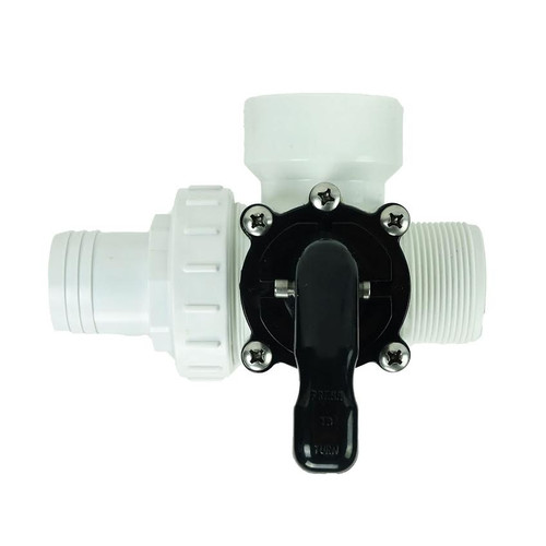 "6.25"" White HydroTools Swimming Pool and Spa Standard Left Outlet 3-Way Valve - IMAGE 1"
