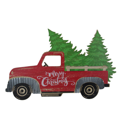 """31"""" Red Wooden """"Merry Christmas"""" Pick Up Truck Christmas Tabletop Decoration - IMAGE 1"""