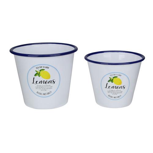 "Set of 2 Fresh from the Garden Lemon Metal Buckets 6.75"" - IMAGE 1"