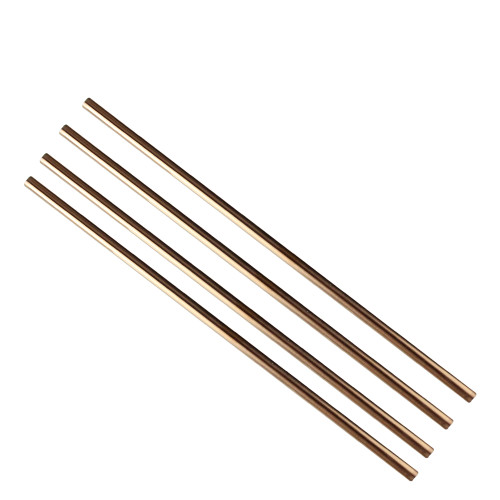 """Set of 4 Handcrafted Antique Copper Stainless Steel Re-usable Drinking Straws 8.5"""" - IMAGE 1"""