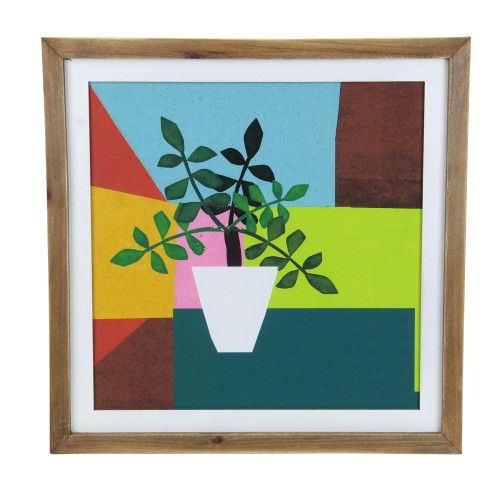 "16"" Multi-Color Geometric Potted Plant Wood Framed Wall Art - IMAGE 1"
