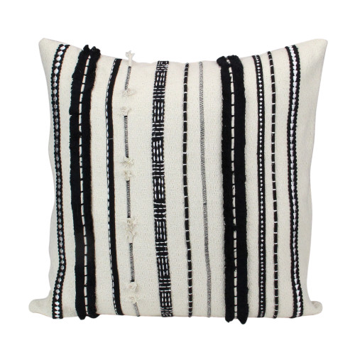 """17"""" Ivory and Black Horizontal Striped Square Throw Pillow - IMAGE 1"""