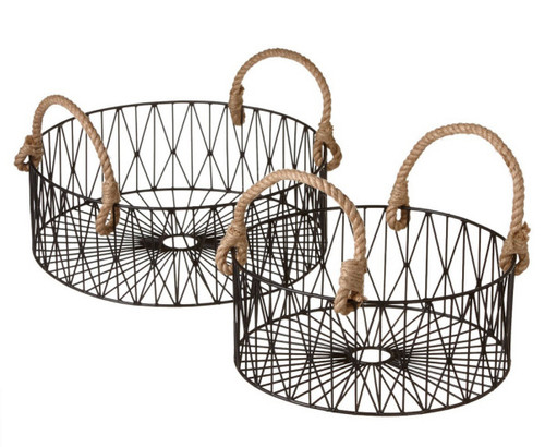Set of 2 Contemporary Geometric Black Wire Nesting Baskets with Rope Handles - IMAGE 1