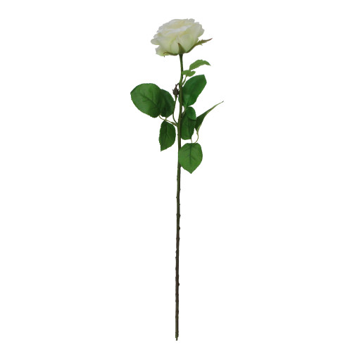"""27"""" White and Green Long Single Stem Budding Rose Artificial Pick - IMAGE 1"""