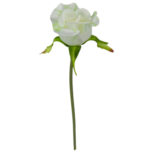 """9"""" White and Green Artificial Short Single Stem Budding Rose Pick - IMAGE 1"""