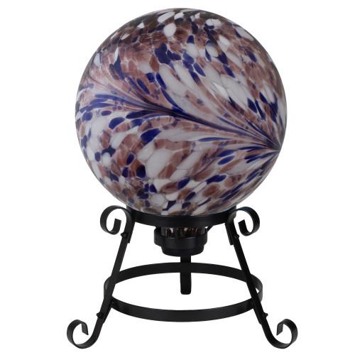 "10"" Purple and White Swirl Designed Outdoor Garden Gazing Ball - IMAGE 1"