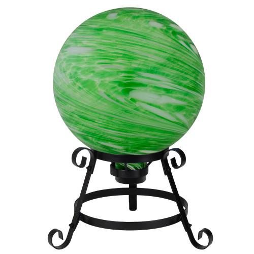 "10"" Green and White Swirl Outdoor Garden Gazing Ball - IMAGE 1"
