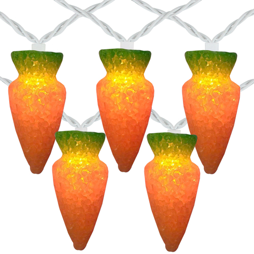 10-Count Orange Carrot Easter String Light Set, 7.25ft White Wire - IMAGE 1