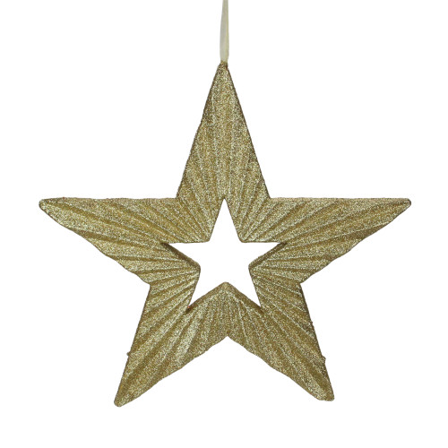 """16.5"""" Gold Shimmering Five-Point Star Christmas Ornament - IMAGE 1"""