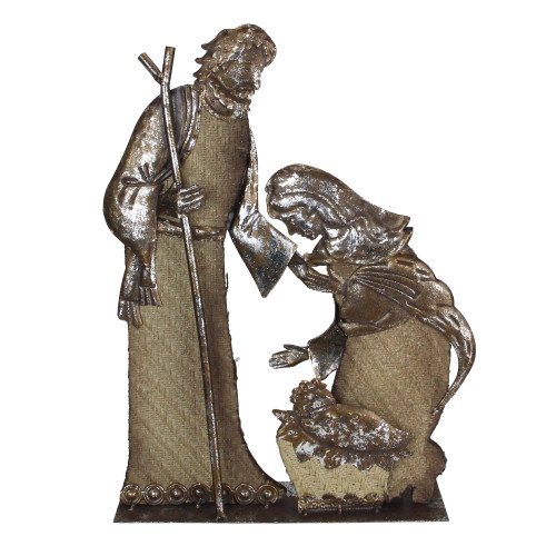 """17"""" Rustic Metal Holy Family Nativity Scene With A Burlap Design Christmas Table Top Decoration - IMAGE 1"""