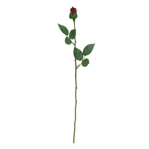 "23"" Burgundy and Green Single Stem Budding Artificial Rose Pick - IMAGE 1"