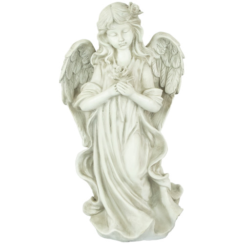 """17"""" Peaceful Angel Holding a Rose Outdoor Garden Statue - IMAGE 1"""