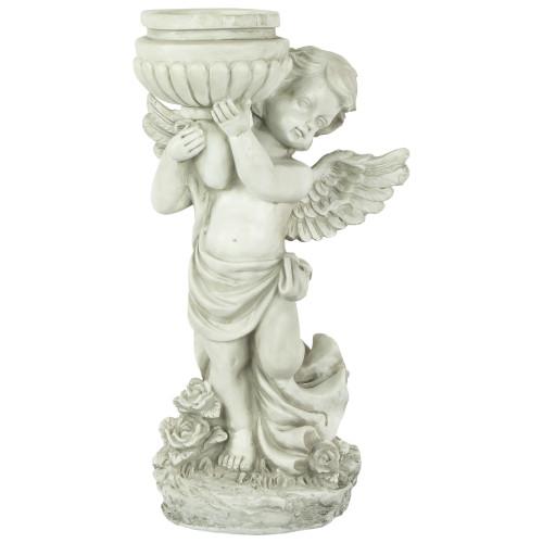 """17"""" Angel Cherub Holding a Birdbath Outdoor Garden Statue - IMAGE 1"""