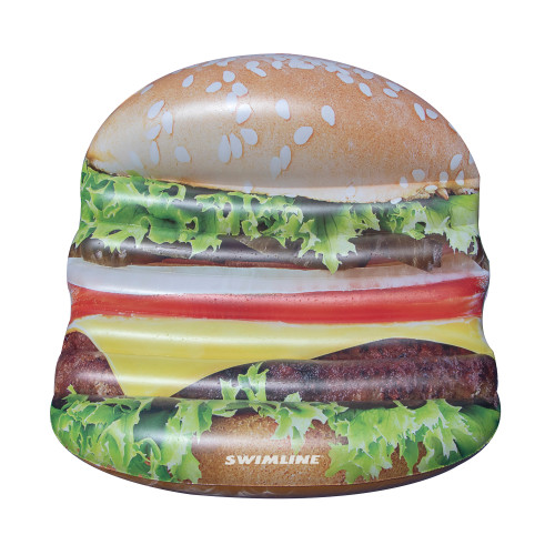 Inflatable Brown Cheeseburger Deluxe Island Swimming Pool Float, 60-Inch - IMAGE 1