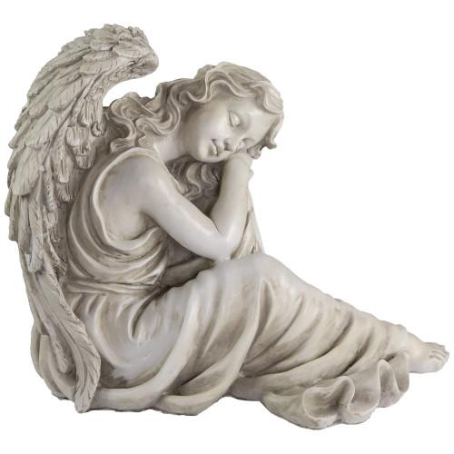 "19"" Gray Peaceful Resting Angel Outdoor Garden Statue - IMAGE 1"