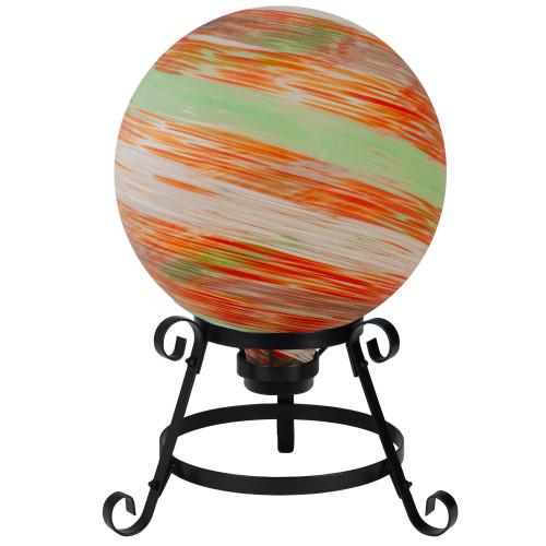 "10"" Orange and Green Swirl Designed Outdoor Garden Gazing Ball - IMAGE 1"