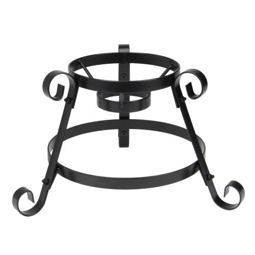 "9.25"" Black Scroll Designed Garden Gazing Ball Outdoor Patio Stand - IMAGE 1"